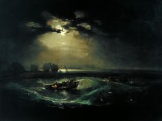 Joseph Mallord William Turner [English Romantic Painter, Fishermen at Sea, 1796 oil on canvas, Height: 914 mm in). Joseph Mallord William Turner, Google Art Project, Turner Painting, Tate Gallery, Watercolor Landscape Paintings, Watercolour, Oil Paintings, Norman Rockwell, Art Graphique