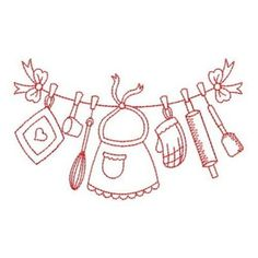 Wind Bell Embroidery Embroidery Design: Redwork Kitchen 2.23 inches H x 3.83 inches W