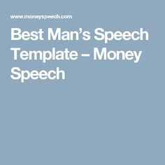 Best Man's Speech Template – Money Speech