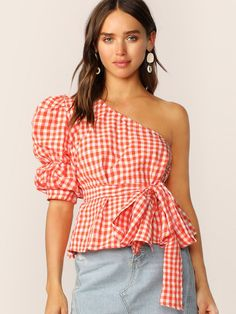 To find out about the One Shoulder Gathered Sleeve Gingham Belted Top at SHEIN, part of our latest Blouses ready to shop online today! Fashion News, Fashion Outfits, Womens Fashion, Fashion Online, Fashion Trends, Orange Fashion, Pulls, Types Of Sleeves, Gingham