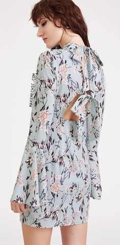 Blue Flower Print Tied Open Back Bell Sleeve Dress