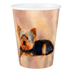 Yorkshire Terrier Dog Art Watercolor Portrait Paper Cup - dog puppy dogs doggy pup hound love pet best friend