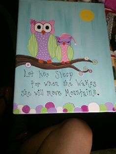Mom and daughter owl painting by 50ShadesOfHomemade on Etsy, $25.00  #owls  #art