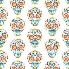 Sugar Skulls SF sunshine fabric by andibird on Spoonflower - custom fabric  Also in a wallpaper!