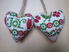 Heart Door Hangers made with Emma Bridgewater Green Joy Christmas fabric