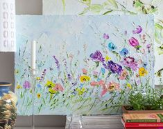 Large Art Big Painting Large Poster Flowers Oil Painting Peonies Roses Lilac Ginger Red Blue Turquoise Cipria Art Cottage Home Wall Print Ha Oil Painting Flowers, Texture Painting, Oil Painting On Canvas, Oil Paintings, Floral Paintings, Pink Abstract, Abstract Flowers, Abstract Art, Cherry Blossom Wallpaper