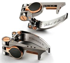The Fonderie 47 cufflinks are currently the world's most expensive cufflinks, but they have another selling point. These cufflinks are created from the metal of AK-47 rifles retrieved from Africa. Designed by Roland Iten, these unique cufflinks also double up as bracelets.