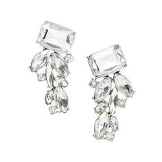 Banana Republic Peacock Stud Earring - Clear crystal (46 CAD) ❤ liked on Polyvore featuring jewelry, earrings, peacock earrings, peacock feather earrings, clear crystal jewelry, banana republic jewelry and stud earrings