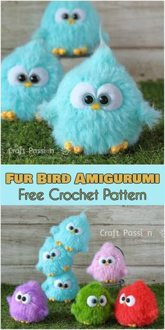 These colourful baby birds are inspired by The Angry Bird Movie. They are so delightfully adorable with their enormous round eyes. It will be a great gift for any Angry Birds lover, but a girl who loves her Furby will go ga-ga over this crochet toy too. The amigurumi Fur Bird was crocheted with eyel
