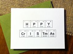 Happy Christmas Card  Chemistry Periodic by theBirdandtheBeard, $20.00