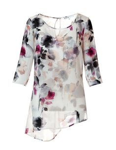 Floral Print Tunic Blouse with Cami