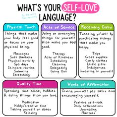 Self-Love Languages, What's Yours? - Blessing Manifesting - 5 Self-Love Languages – Blessing Manifesting - Love Language Physical Touch, Self Care Bullet Journal, Five Love Languages, Quotes Thoughts, Self Care Activities, Counseling Activities, College Counseling, Self Care Routine, Coping Skills