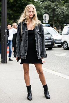 Image result for black oversized denim jacket
