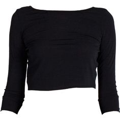 Open A-Back Long Sleeve Crop Top Black (€14) ❤ liked on Polyvore featuring tops, shirts, crop tops, long sleeves, scoopneck top, extra long sleeve shirts, scoop neck shirt, long-sleeve shirt and long-sleeve crop tops
