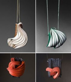 Beautiful textures and colors from Lydia Hirte's unique paper sculpture jewelry