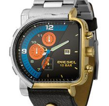 "Diesel's new ""Freak of Nature"" frankenwatch fuses ""a steel oval case with a gold square surrounding a split-faced multi-colored chronograph dial"" -- it's even got two different watch-band halves! Diesel -Freak of Nature Cool Watches, Watches For Men, Men's Watches, Diesel Watch, Metal Bracelets, Bar, Casio Watch, Watch Bands, Chronograph"