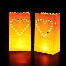 10 pz/lotto a forma di cuore di carta sacchetti della candela di nozze tea lights sacchetti della candela per il partito decorazione di cerimonia nuziale(China (Mainland))