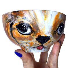 """Cocker Spaniel """"PupArt""""  hand painted Porcelain art bowl by Me!  :D 🐶"""