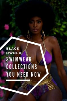 8 Black Owned Swimwear Collections you need NOW - African American woman with Afro Black Girl Beach, Black Girls, African Swimwear, Black Lives Matter Quotes, African American Fashion, African Fashion Designers, My Black Is Beautiful, Black Women, Gold Chrome