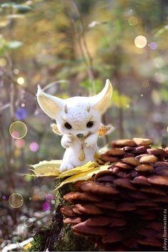 Купить малыш Yoko - золотой, войлок, авторская игрушка, аниме, фантазия, фантазийный сюжет, осень