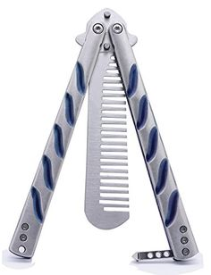 $11.99 - Jollylife Butterfly Knife Training Comb Knife Trainer Titanium Blue Handle with Nylon Scabbard 1pc - http://bit.ly/2fQ0176 - Jollylife Butterfly Knife:it is a Training Comb Knife, High Quality, Titanium Blue Handle Butterfly Style Flip Action, Made of stainless steel.