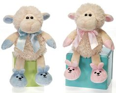 NIB Precious Plush Ivory Baby Lamb with Blue Bunny Slippers by Fiesta Toys! We Love this Sweet Plush Baby Lamb loaded with Personality! Fall 1st Birthdays, Bunny Slippers, Baby Lamb, Trim Color, Blue Bow, Cute Baby Animals, Cute Babies, Plush, Teddy Bear