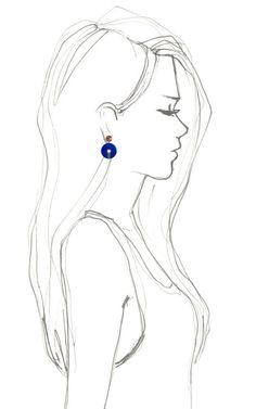 Lapis & Diamond Disc Earrings by Bochic for Preorder on Moda Operandi