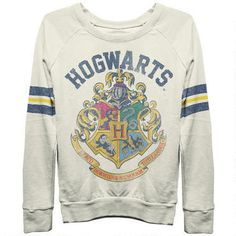 Hogwarts Crest Long Sleeve Banded Bottom Ivory Shirt-- I NEED this once it gets back in stock!