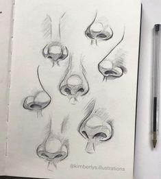 Art Drawings Sketches Simple, Pencil Art Drawings, Realistic Drawings, Arte Com Grey's Anatomy, Anatomy Art, Anatomy Drawing, Sketch Nose, Art Du Croquis, Nose Drawing