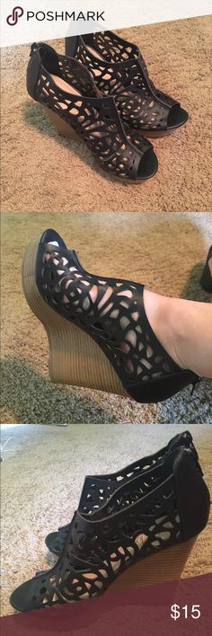 Black wedges Only worn once! Hot Tomato wedges! Shoes Wedges