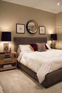 Neutral Themed Decor and Furniture for Master Bedroom with Large Mirror