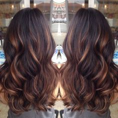 golden caramel balayage'd lights on her dark brown hair  ♥ my summer hair by miacats