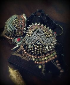 Spiked Bra Gothic Bra Tribal Fusion Bra Goth Belly by DancingTribe, $159.00