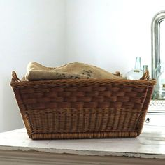 Vintage Wicker French Laundry Basket by @BoulderBlueStudio on Etsy
