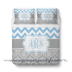 A personal favorite from my Etsy shop https://www.etsy.com/listing/201599780/chevron-and-damask-soft-gray-and-light