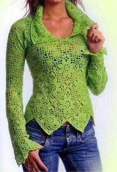 Crochet Sweater: Crochet Sweater Para Mulheres - Elegante