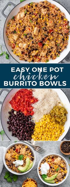 Chicken Burrito Bowls loaded with rice, chicken, black beans, corn, salsa, and spices all made in one pan in under 30 minutes! If you haven't noticed, we Chicken Burrito Bowl, Burrito Bowls, Chicken Burritos, Mexican Food Recipes, Healthy Recipes, Ethnic Recipes, One Pot Meals, Easy Meals, One Pan Chicken