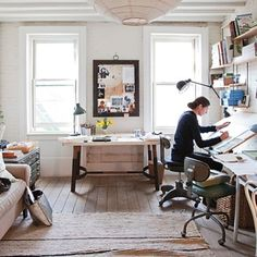 Cozy home office, drafting table, desk, and framed pics. Home office. studio office of miranda brooks via lonny Art Studio Design, Art Studio At Home, Home Art, Art Studio Room, Workspace Design, Home Office Design, Office Designs, Office Ideas, Office Style