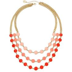Liz Claiborne Gold-Tone Orange Bead Layered Necklace, Pink (One Size)... ($8.40) ❤ liked on Polyvore featuring jewelry, necklaces, long chain necklace, long beaded necklace, beaded statement necklace, orange statement necklace and layered necklace