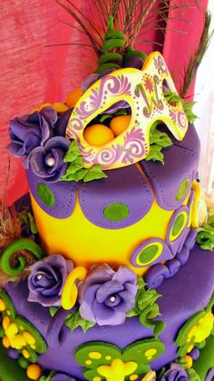 Mardi Gras cake -awesome colours  Combine common look with carnival sugar skulls.