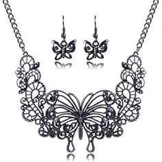 Women Girls Jewelry gift Fashion Retro Large Butterflies Elegant Style Necklace Earring Sets, http://www.amazon.com/dp/B00ZQKN1W8/ref=cm_sw_r_pi_awdm_pZ.Jvb007GF65