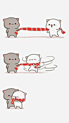 Solution 1 of getting 2 cats warm with 1 long scarf Cute Love Pictures, Cute Love Gif, Cute Kawaii Animals, Kawaii Cat, Chibi Cat, Cute Chibi, Cute Cat Wallpaper, Kawaii Wallpaper, Cute Kawaii Drawings