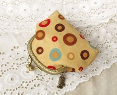Coin Purse Colored Circles, Turquoise, Tan, Red, Brown, $22.00