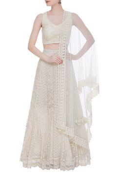 Shop Vandana Sethi Chikankari lehenga with sleeveless blouse and dupatta , Exclusive Indian Designer Latest Collections Available at Aza Fashions Lehenga Gown, Lehenga Blouse, Anarkali Dress, Choli Designs, Bridal Blouse Designs, Lehenga Designs, Indian Dresses, Indian Outfits, Pakistani Wedding Outfits