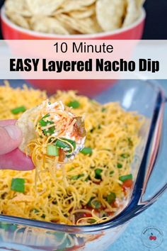 This Easy Layered Nacho Dip is quick and easy to make perfect for dipping nachos and for serving a crowd on game day or bringing along to a potluck! Dip Recipes, Appetizer Recipes, Mexican Food Recipes, Cooking Recipes, Healthy Recipes, Healthy Food, Easy Potluck Appetizers, Tasty Snacks, Healthy Dips
