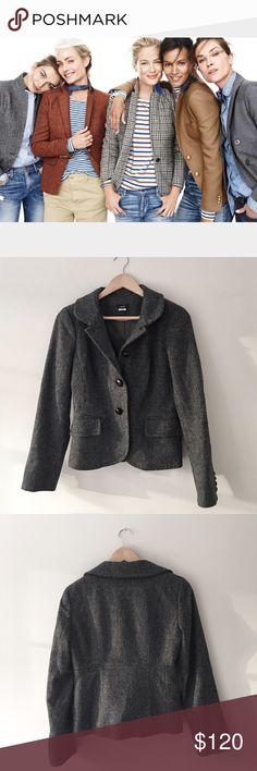 J. Crew Herringbone Blazer Stunning Rare Sold OUT 100% wool Herringbone blazer by J. Crew. Wood button. 2 front flap pockets. Fully lined in 100% acetate. Size 4. NWOT. J. Crew Jackets & Coats Blazers