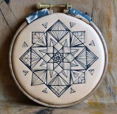 Tattooed leather original & unique artwork: Geometric mandala no 3 via Etsy