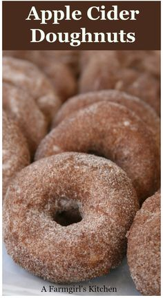 Apple Cider Doughnuts are a cake style doughnut rolled in a cinnamon sugar mixture. They are simple to make and will remind you of fairs and apple orchards. #recipes #apples #appleciderdonuts #homemade #donuts #applecider