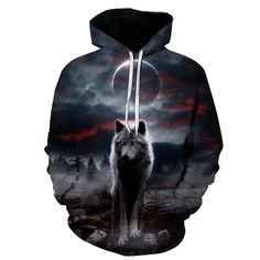 Bohemian Wolf with Autumn Leaves Mens Womens Unisex Sweatshirt