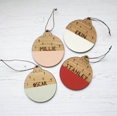 Personalised Name Wooden Christmas Bauble by modo creative, the perfect gift for Explore more unique gifts in our curated marketplace. Wooden Christmas Crafts, Wooden Christmas Decorations, Christmas Clay, Wood Ornaments, Christmas Ornament Crafts, Xmas Crafts, Diy Christmas Ornaments, Homemade Christmas, Christmas Projects